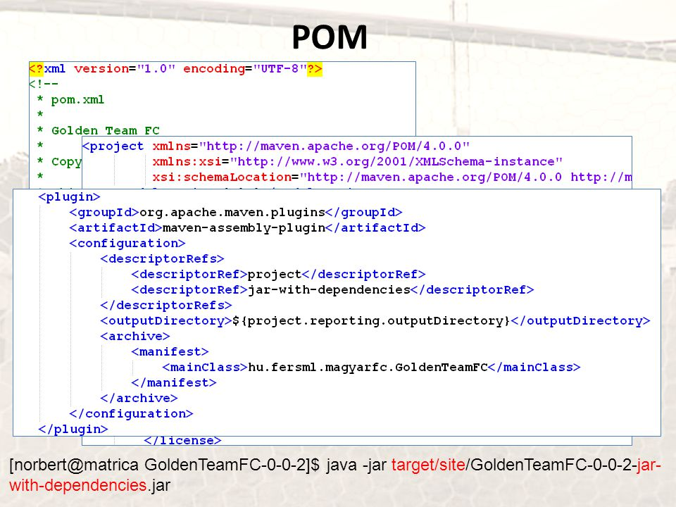 POM [norbert@matrica GoldenTeamFC-0-0-2]$ java -jar target/site/GoldenTeamFC-0-0-2-jar-with-dependencies.jar.